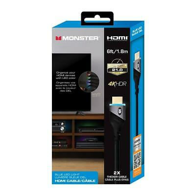 Monster HDMI Cable 4K HDR 6FT LED - Blue, Purple, Red, Green