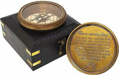 Steampunk Accessory - Golden Brass Finish Sundial Compass with Wooden Box