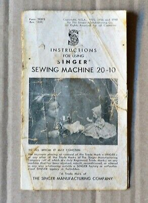 1922 - 1948 Small Singer Sewing Machine 20 - 10 Instruction Booklet