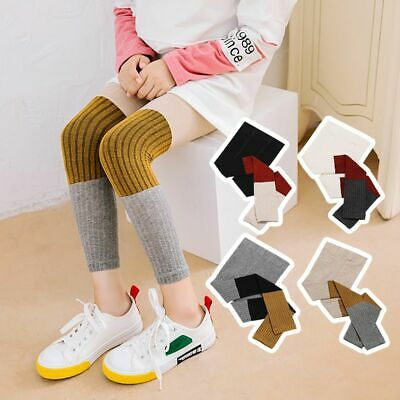 Children Girl Fashion Knitted Thick Warm Stretchy Three Colors Stitching Bottom