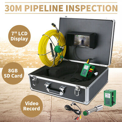 """30M Sewer Waterproof Camera Pipe Pipeline Drain Inspection System 7""""LCD DVR EU"""