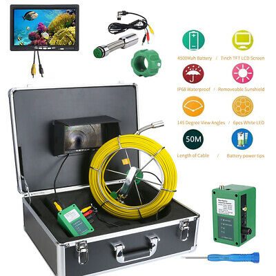 "50M Waterproof Drain Pipe Sewer Inspection Camera System 7"" LCD 1000 TVL Camera"