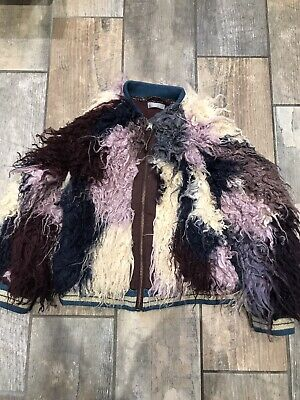 Next Girls Amazing Purple/Cream Mongolian Fur Look Jacket Age 6 Years