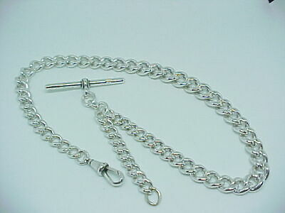 Stunning Antique Solid Silver Graduated Albert Pocket Watch Chain