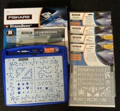 Fiskars ShapeBoss 5600 Embossing System Complete + 4 extra stencils Most unused
