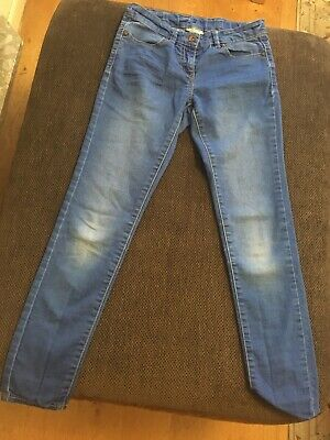 Next Girls Stone Washed Adjustable Waist Cotton/Poly/Elas Jeans Age 10 Years VGC