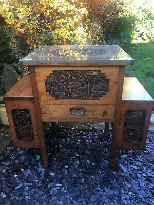 Oriental Beautifully Carved Side Table With Drawers 1940s