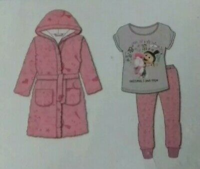 Girls Despicable me 3 Pyjamas and robe 5 6 Years New Great xmas gift!