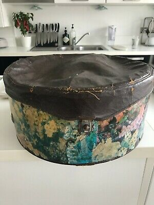 Lovely vintage hat box, leather top, floral collage body, working clasp