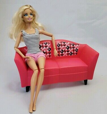 Mattel BARBIE 2008 GLAM PINK Couch Sofa Furniture Replacement Dreamhouse Malibu