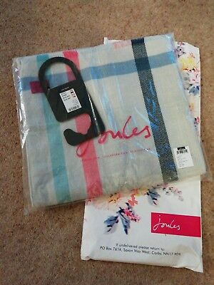 Beautiful Joules Womens Berkley Woven Longline Scarf in Grey Check in One Size