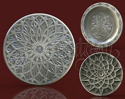 3 3D Models STL For CNC Router Artcam Aspire Geometric Round Panel Cut3D Vcarve