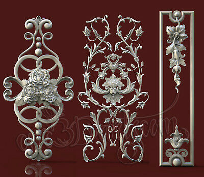 3 3D Models STL For CNC Router Artcam Aspire Door Furniture Decor Cut3D Vcarve