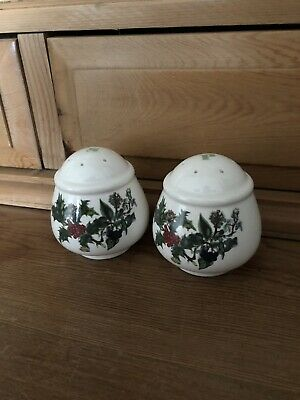PORTMEIRION The Holly and The Ivy Salt And Pepper Pots  (chip on salt Pot)