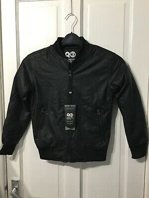 Boys Ripstop black faux leather coat warm padded SB / 7-8 yrs new with tags
