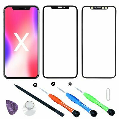 For iPhone X 5.8 Front Outer Top Touch Screen Outer Glass Lens Replacement Black