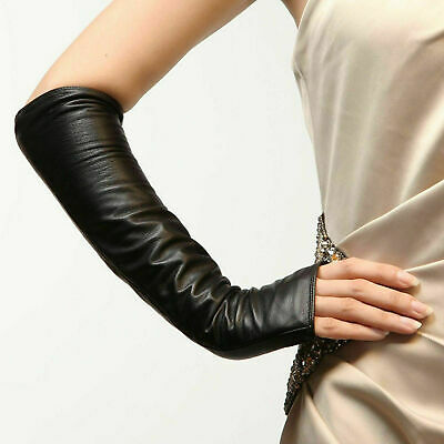 Synthetic Leather Fingerless Ladies Long Sleeve Elbow Driving Gloves Women Girl