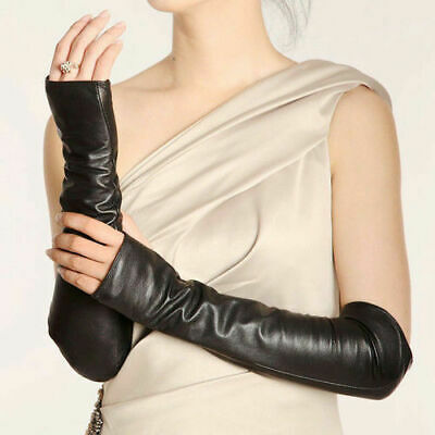Ladies Fingerless Leather Long Sleeve Elbow Fashion Driving Gloves Girls Women