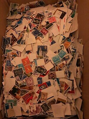GB stamps. Approx 640 grams Off Paper Stamps Kiloware