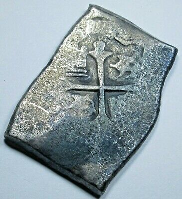 1600's Shipwreck Spanish Mexico Silver 4 Reales Real Old Antique Pirate Cob Coin
