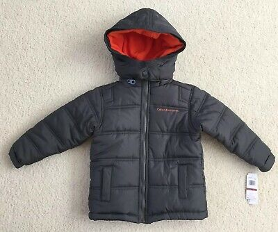 Nwt Calvin Klein Little Boys Gray Orange Bubble Jacket Size XS Detachable Hood
