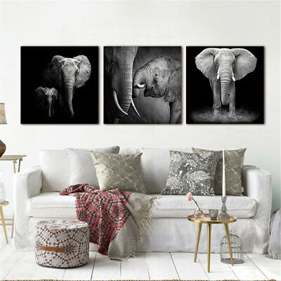 3Pcs Modern Wall Art Unframed Picture Elephant Canvas Print Painting Home Decor