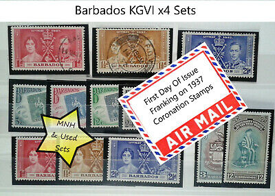 Barbados KGVI 1937 Coronation 1951 Inauguration 1952 Centenary MNH and Used sets