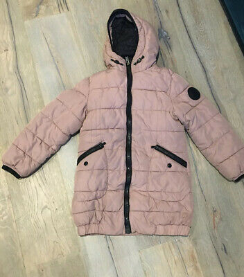 Next Girls Pink And Black Padded Warm Coat Age 8-9