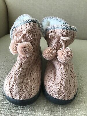 The Original  Muk Luks Sweater Boots Pink/Gray/White Size S 5/6 Pom Poms NWT!!!