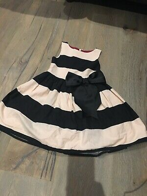 Next Girls Pink And Black Stripe Bow Party Occasion Dress Age 2-3 Years