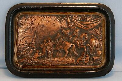19th C Framed 3D Copper Engraving France Troops Soldiers Louis XIV