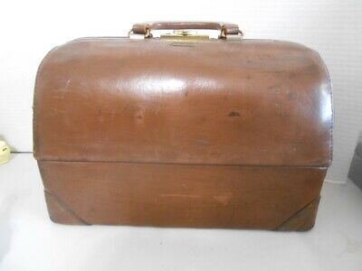 Vtg Emdee by ☆Schell☆ Doctors Medical Bag Brown Leather-EX Condition