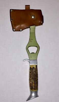 Vintage 60's German Solingen Othello Stag Hatchet Axe Leather Sheath Multi-Tool