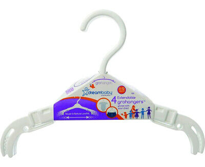 4 Count Dreambaby Extendable GroHangers Clothes Organizer 0-12 Years White