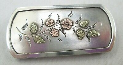 Antique Victorian Sterling Silver Aesthetic Gold Overlay Brooch Pin