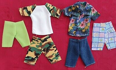 Six Items Of Clothes For Ken, Hawiian Shirt, Top, Four Pairs Shorts, Fast Post