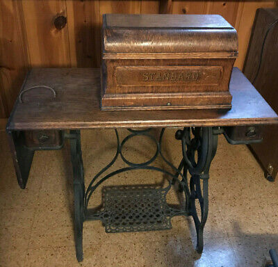 Antique Standard Treadle Sewing Machine,Table, Cabinet & Accessories 1887 Patent