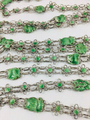 Antique Chinese Export Enamel 900 Silver Necklace Long Guard Chain 76""