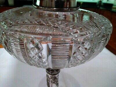 Victorian Hinks Silver Plate Cut Crystal Oil Lamp Font