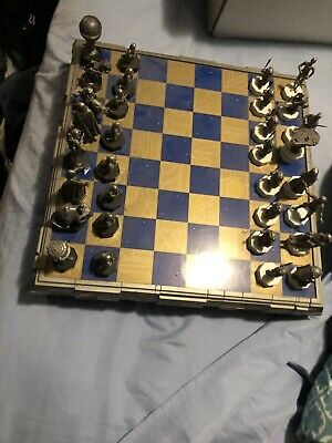 Danbury Mint STAR WARS Pewter CHESS SET (1993) NEVER USED - COMPLETE & NEAR MINT