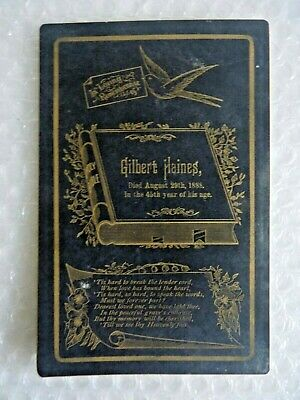 eDWARDIAN VICTORIAN FUNERAL DEATH CARD GILBERT HAINES 1888 RELIGIOUS neocurio