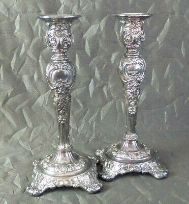 Beautiful Pair of Antique Victorian WM Rogers & Son Silverplate Candlesticks