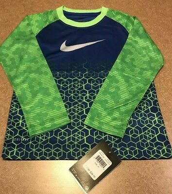 Nwt Nike Boy Dri-Fit Long Sleeve Train Running Gym Shirt Blue Lime Green 4T $28