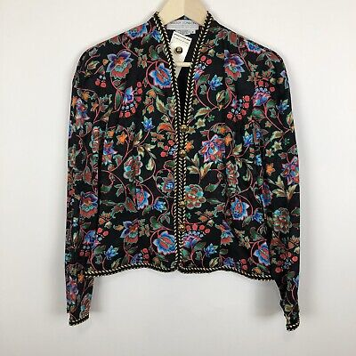 Vintage Maggy London cropped silk Cropped Bolero floral jacket coat 8/M cocktail