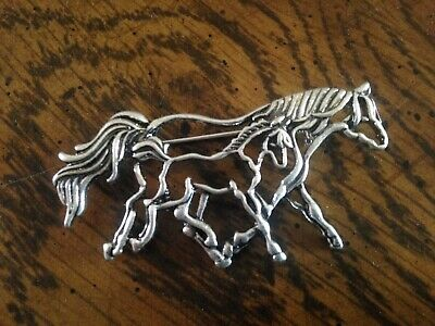 Mare & Foal Stock Tie Horse Show Ratcatcher Fox Hunting Eventing Dressage Pin