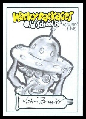 2019 Topps Wacky Packages Old School 8 Martian Hats John Brewer Sketch 1/1