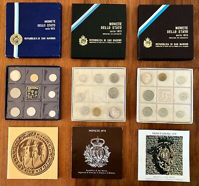 COMPLETE Year 1972&73&74 Collector's Coins San Marino Republic in Mint Condition