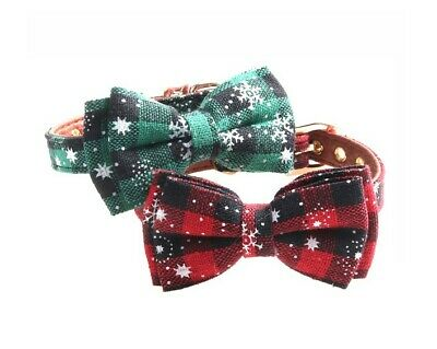 Plaid Dog Cat Leather Collar - Pet Bow tie Removable Snowflake