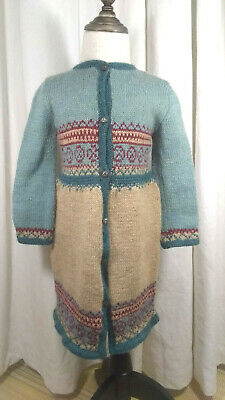 Girl's Fair Isle Intarsia Knit Wool Coat Blue Red Beige Scandi Top Quality