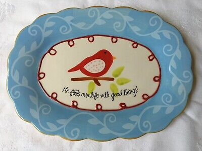 Decorative Ceramic Platter Plate Red Bird He Fills Our Lives with Good Things